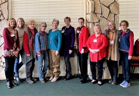 Federated Republican Women of Lincoln County board members are from left:Martha Popplewell, Mickie Parham, Vicki Arnold, Erma Nichols, President Ann Eby, Betty Roberts, Marci Butchofsky, Cathy Christmas, Cynthia Black and Sue Jones.