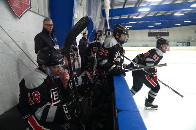 Birmingham United players pour over the boards during a line change on Jan. 30 at Chelsea's Arctic Coliseum.