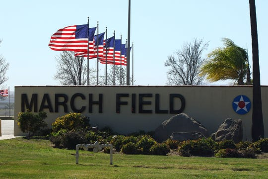 The entrance to March Air Reserve Base in Riverside.