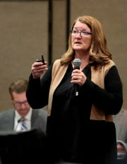 Barbara Poppe, former executive director of the United States Interagency Council on Homelessness, gives a presentation during the City of Palm Springs' first public hearing to discuss and hear community feedback about how the one-time $10 million allocation from the state should be used to address homelessness in Palm Springs, Calif., on January 29, 2020.