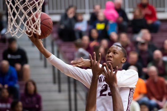 Gettysburg's Quadir Copeland goes to the rim in the second quarter against York Suburban on Wed., Jan. 29, 2020. Copeland scored 18 points to help the Warriors win, 66-60.