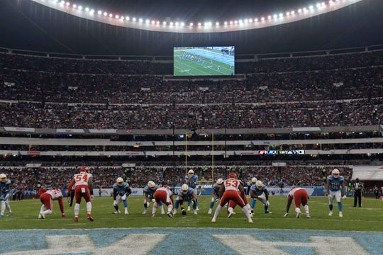 General overall view as Los Angeles Chargers quarterback Philip Rivers (17) prepares to take the snap against the Kansas City Chiefs in the second half during an NFL International Series game at Estadio Azteca.