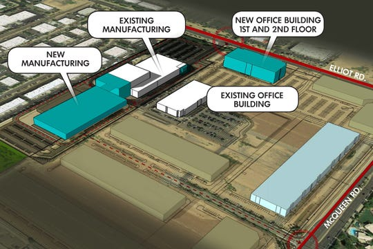 The layout of Northrop Grumman's Gilbert campus. The two turquoise buildings broke ground Jan. 30.