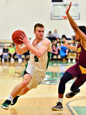 York College's Jared Wagner is seen in action Wednesday night vs. Salisbury. Wagner finished with 28 points, 11 rebounds, nine assists, two blocks and a steal. He was 10 for 16 from the field and 3 for 6 from 3-point range. Dawn J. Sagert photo