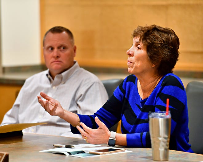 West Manchester Township Board of Supervisors board members Rosa G. Hickey, right, and  Steven Harlacher during a special meeting with Shiloh Water Authority at the West Manchester Township Municipal Building in West Manchester Township, Wednesday, Jan. 29, 2020. Dawn J. Sagert photo
