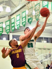 Spring Grove High School graduate Darin Gordon, seen here driving to the basket in a file photo, had 11 points Saturday in York College's win over Southern Virginia.