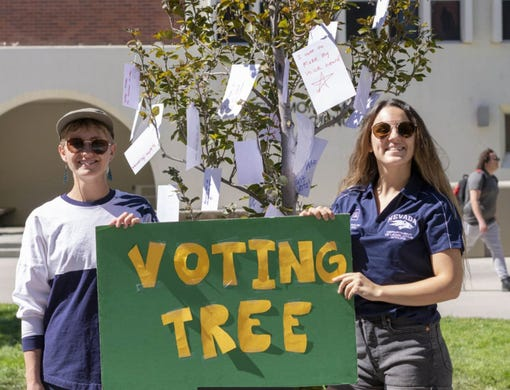 "ASUN""s Department of Legislative Affairs creates a Voting Tree and voter registration station on campus."