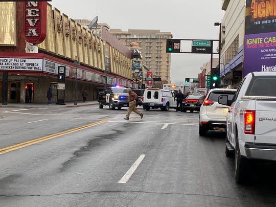 Police respond to the corner of Second and Center streets in downtown Reno after a man was struck by a vehicle on the morning of Jan. 30.