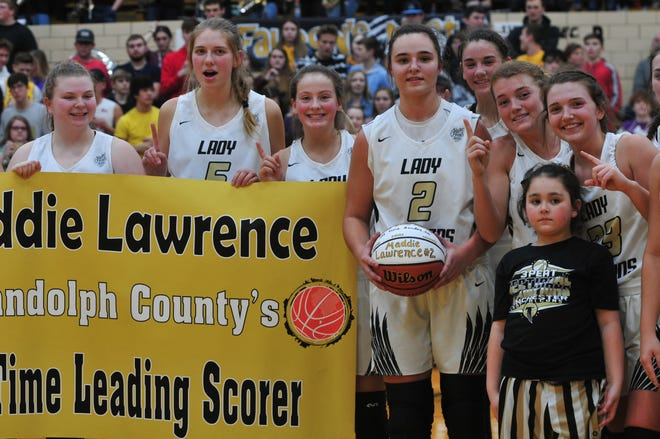 Maddie Lawrence is Randolph County's all-time leading scorer (boys or girls) with 1,984 career points. Lawrence is now Winchester's all-time leader in points, rebounds and assists.