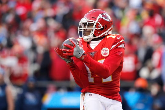 Sammy Watkins of the Kansas City Chiefs catches a 60-yard touchdown pass in the fourth quarter against the Tennessee Titans in the AFC Championship Game at Arrowhead Stadium on Jan. 19, 2020 in Kansas City, Missouri.