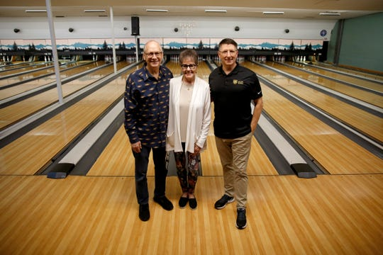 Don Lebold, from left, Ann Levold and Tim Davis at Town & Country Lanes in Keizer on Jan. 30, 2020. The Lebolds are selling the bowling alley to Davis, with Valor Mentoring, after more than 50 years of ownership.