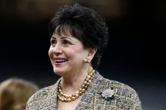 "FILE - In this Nov. 24, 2019, file photo, New Orleans Saints owner Gayle Benson, watches the team warm up, before an NFL football game against the Carolina Panthers in New Orleans. The Saints contend their behind-the-scenes public relations work on the area's Roman Catholic sexual abuse crisis was ""minimal,"" but attorneys suing the church allege hundreds of confidential Saints emails show just the opposite, the team actively helping to shape a list of credibly accused clergy that appears to be an undercount. Benson, who is close friends with the local archbishop, have disputed as ""outrageous"" any suggestion that the team helped cover up crimes.  (AP Photo/Butch Dill, File)"