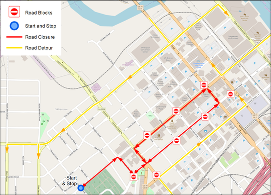 African-American History Parade route for Feb. 1.