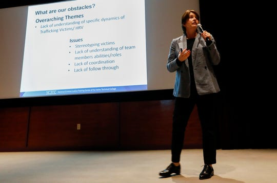 Cathy De La Paz, a detective with the Dallas Police Department, speaks to the audience during a human trafficking summit at Mercy's Hammons Heart Institute on Wednesday, Jan. 29, 2020.