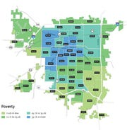 """The percentage of people living in poverty based on geographic area, as included in the Forward SGF """"Issues and Opportunities"""" report."""
