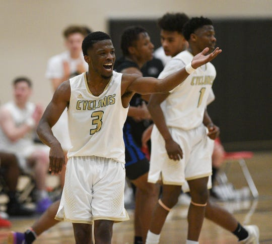 St. Cloud Technical & Community College guard Eric Racine calls out to a teammate Wednesday, Jan. 29, 2020, at Whitney Rec Center.