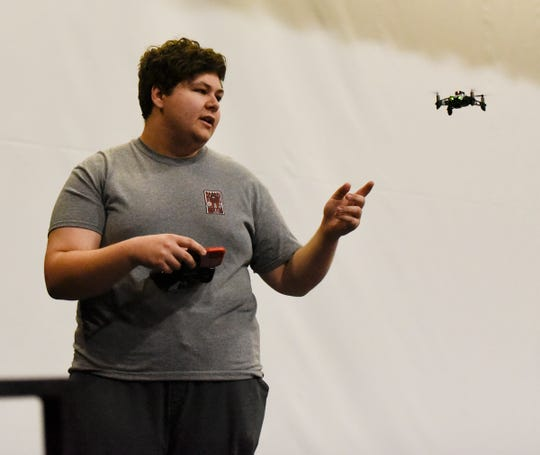 ROCORI student Austin Tice gives details about the drone Wednesday, Jan. 29, 2020, at ROCORI High School.