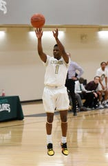 St. Cloud Technical & Community College guard Paul Coleman takes a shot Wednesday, Jan. 29, 2020, at Whitney Rec Center.