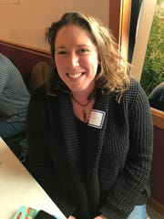 Carrie Redden, a new dairy farmer in Chokio, attended a gathering of dairy farmers at the Greenwald Pub in Greenwald on Thursday, Jan. 30, 2020.