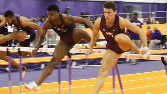 FSU hurdlers Caleb Parker (center) and Trey Cunningham (right) have the two best times in the country this season in the 60-meter hurdles.