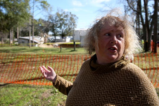 Lynn Garman, 63, a resident of the Capital Circle Pines trailer park describes what she saw as a massive sinkhole began to open up near her neighbors' homes on Tuesday, Jan. 28, 2020.
