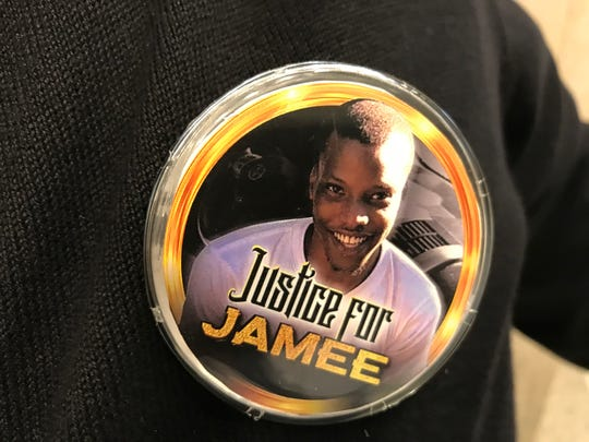 "Family members and supporters of Jamee Johnson, a former FAMJU student killed in a police-involved shooting in Jacksonville in December, wore ""Justice for Jamee"" buttons at a news conference Jan. 30, 2020 at the Capitol."