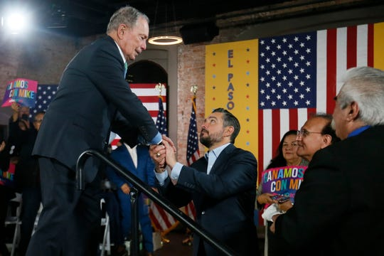 Democratic presidential candidate Mike Bloomberg shakes hands with El Paso state Rep. Cesar Blanco after a speech at a  Jan. 29 rally in the old train depot near El Paso City Hall.