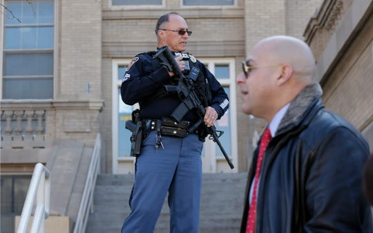 El Paso police and several other agencies converge on El Paso High School after reports of three men with guns were reported near the campus Thursday, Jan. 30, 2020.