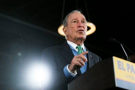 Democratic presidential candidate Mike Bloomberg holds a rally Wednesday, Jan. 29, at the old train depot next to City Hall in El Paso.
