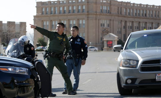 El Paso police and several other agencies converge at El Paso High School after three men with a BB gun were seen near the campus Thursday, Jan. 30, 2020.
