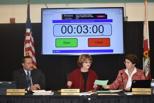 In this file photo, the board for the Santa Paula Unified School District begins the public comments section of a meeting.