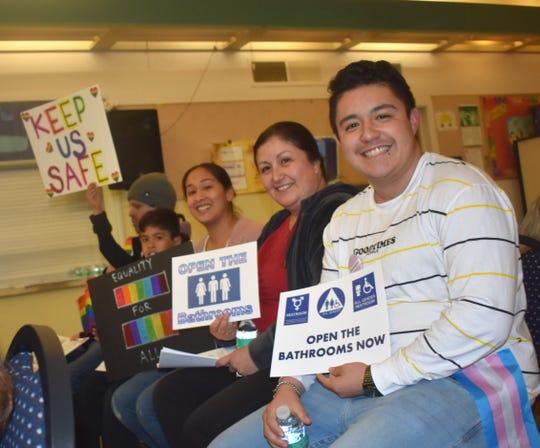 Caiden Moreno, right, and others say LGBTQ students at Santa Paula High School need unlocked access to safe bathrooms.