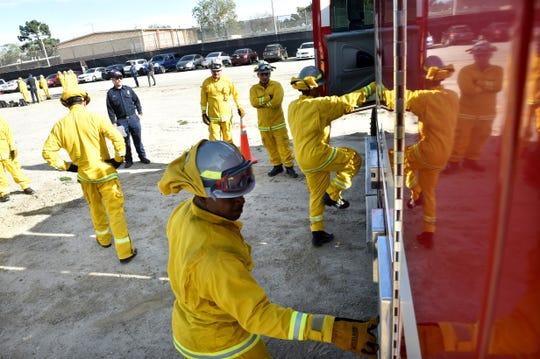 Marcus Irvins, of San Bernadino County, participates in chock block drills at the Ventura Training Center in Camarillo on on Jan. 29, 2020.