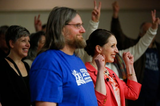 Tricia Zunker poses for a photo with attendees after answering questions Wednesday at a 7th Congressional District forum at the Labor Temple in Wausau. Zunker is running against Lawrence Dale for the Democratic nomination in a special election to fill the seat vacated by Sean Duffy in September 2019.