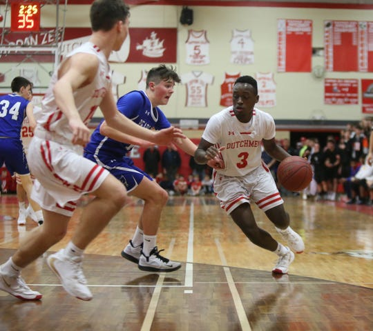 Tappan Zee's David Alexandre (3) drives to the basket during their 47-45 win over Pearl River in boys basketball at Tappan Zee High School in Orangeburg on Wednesday, January 29, 2020.