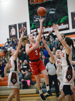 Bailey Beckstedt goes up for a shot during Sheridan's 51-39 win against host New Lexington on Wednesday night.