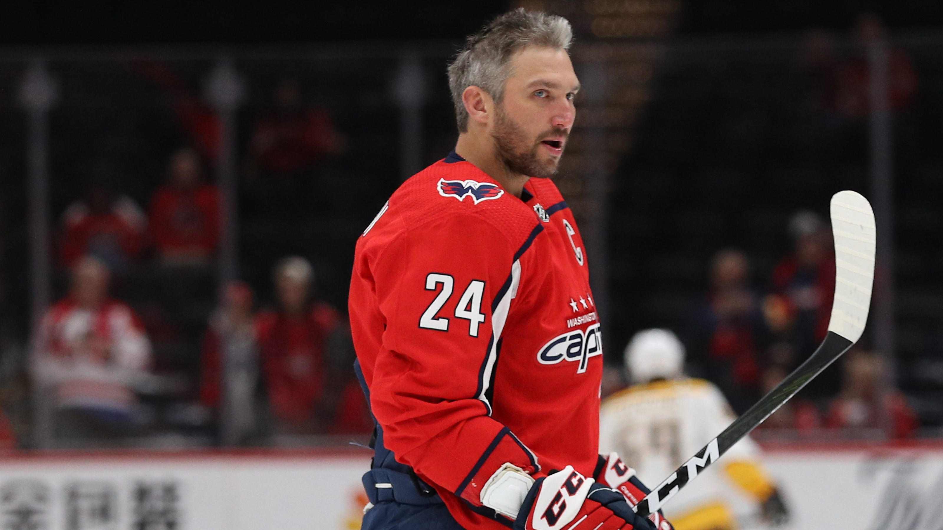 Capitals Alex Ovechkin throws out first — and second