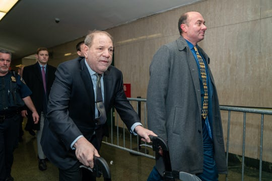 Harvey Weinstein arrives for his sexual assault trial on Jan. 30 in New York City.