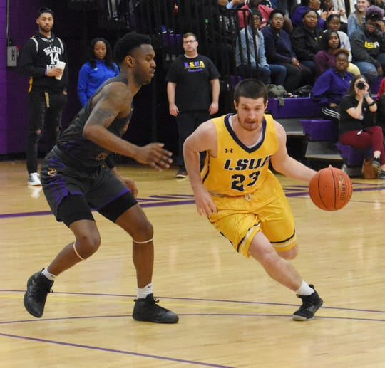 LSUA's JR Adams (23) drives for two against the Texas College Steers Thursday, Jan. 30, 2020 at the Fort. The Generals won 117-92.