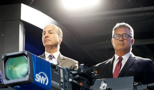 Gary Cohen (left) shown here with Mets broadcast partner Ron Darling, is best known for his work in Major League Baseball