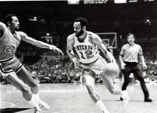 Rutgers forward Phil Sellers drives against St. John's at Madison Square Garden in either 1975 or 1976.