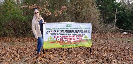 Howell resident Dawn Van Brunt's organization HOPE stood in opposition of the Monmouth Commerce Center.