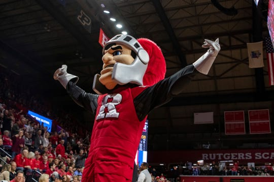 General view of Rutgers Scarlet Knights mascot during the first half of the college basketball game between the Purdue Boilermakers