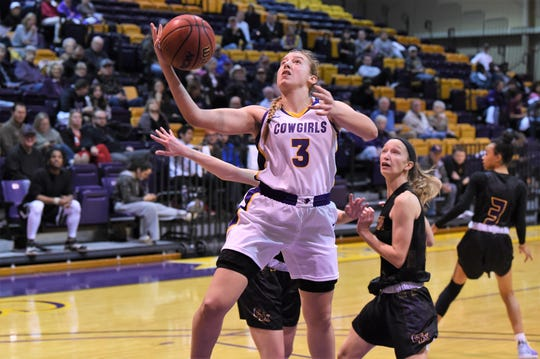 Hardin-Simmons' Parris Parmer (3) goes up for a layup against Concordia at the Mabee Complex on Thursday. Parmer had eight points and 10 rebounds in the 57-54 win.