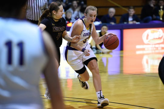 Hardin-Simmons' Parris Parmer (3) dribbles the ball against Concordia at the on Thursday. The Cowgirls won 57-54.