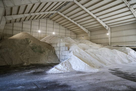 At the Indiana Department of Transportation subdistrict in Indianapolis, 4500 tons of rock salt are ready to clear roads of winter accumulation.