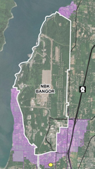 The areas in purple have been identified by the Navy as eligible for free testing to determine if they might have elevated levels of what are known as PFAS, whose contaminants might have entered local aquifers due to a firefighting foam once used on the installation. The yellow dot is the Avellana neighborhood in the Kitsap Public Utilities District, whose officials have already sent in tests to the lab.
