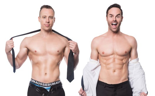 The Naked Magicians will have nothing up their sleeves — because they won't have any sleeves — when they perform Feb. 9 at the Admiral Theatre.