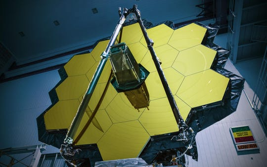 The mirror elements of NASA's James Webb Space Telescope are seen at NASA's Goddard Space Flight Center in Greenbelt, Maryland.