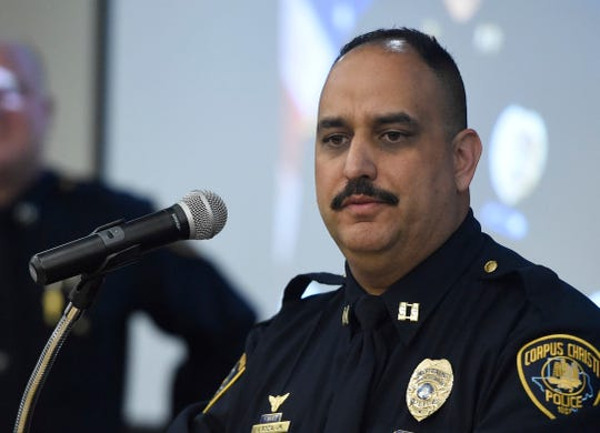 Lt. Israel Soza speaks during the Corpus Christi Police Department officer promotions, Friday, Jan. 31, 2020, at the Corpus Christi Police Department. Soza was promoted to lieutenant.